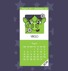calendar for august 2019 vector image
