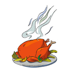 Cartoon image of cooked turkey vector