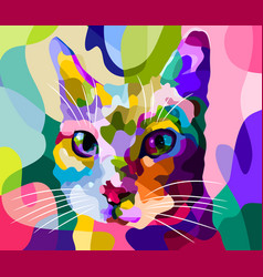 cat face in pop art style vector image