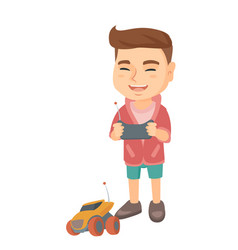 Caucasian boy playing with a radio-controlled car vector