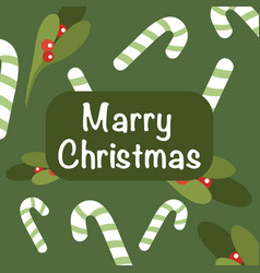 christmas and new year background holly and candy vector image