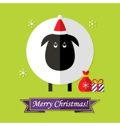 Christmas Card with Sheep over Green vector