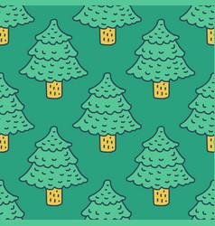 christmas tree drawing pattern fir cartoon style vector image