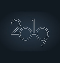 classy 2019 happy new year background logo vector image