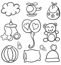 Collection of baby theme doodles vector