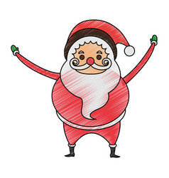 Color pencil cartoon full body fat santa claus vector