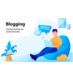 Concept of blogging man working on laptop vector