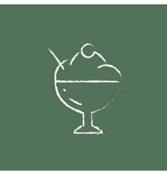 Cup of an ice cream icon drawn in chalk vector image