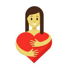 cute girl hugging red heart flat vector image