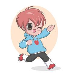 Cute kawaii little boy posing vector