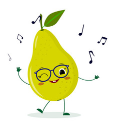 Cute pear green cartoon character in glasses vector
