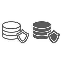 data protection line and glyph icon privacy and vector image