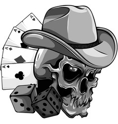 Design cowboy skull with poker ace and dice vector