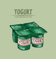 Digital detailed line art packed yogurt vector