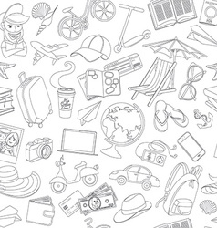 Doodle icons seamless travel pattern vector