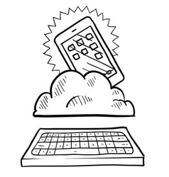 doodle iphoneish cloud keyboard vector image