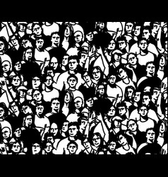 doodles happy crowd people audience black and vector image