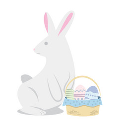 Easters rabbit with eggs funny cartoon vector