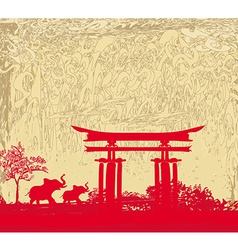 Elephant and chinese construction silhouette vector