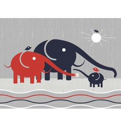Elephants family vector