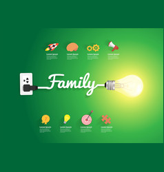 family concept with creative light bulb idea vector image