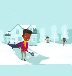 Father removing snow while kids playing snowballs vector