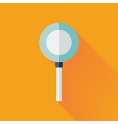Flat loupe icon over yellow vector