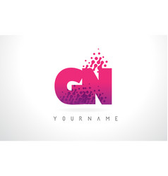 gn g n letter logo with pink purple color and vector image