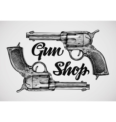 Hand-drawn pistols Gun shop Sketch revolver vector