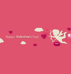 happy valentine s day background with cupid vector image