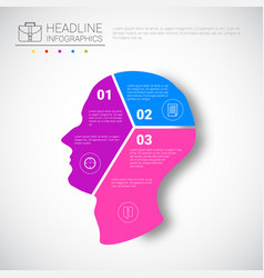 Headline infographic design head steps business vector