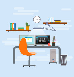 home office interior design workplace vector image
