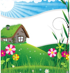House in a meadow vector image
