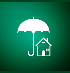 House with umbrella icon on green background vector