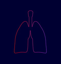 human organs lungs sign line icon with vector image