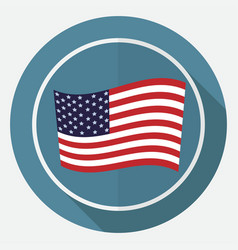 icon america flag on white circle with a long vector image