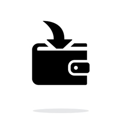 Incoming payment in wallet icon on white vector image