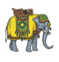 Indian elephant sketch engraving vector