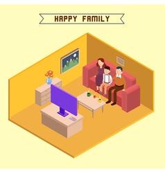 Isometric Interior Happy Family Isometric People vector