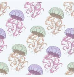 Jellyfish seamless pattern vector