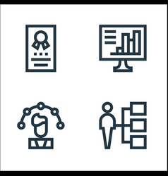 Job resume line icons linear set quality line set vector