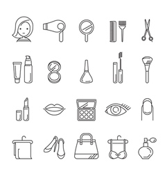 Ladies Fashion Cosmetics And Beauty Linear Icons vector image