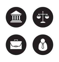 Law black icons set vector