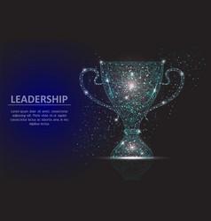 leadership winner cup geometric polygonal vector image