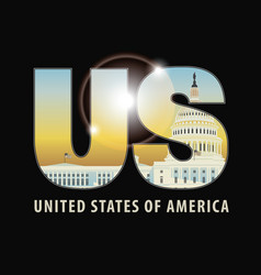 letters us with image capitol building vector image