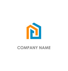 line shape colored realty logo vector image