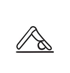 Man practicing yoga sketch icon vector