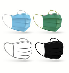 Medical surgical mask face care cover vector