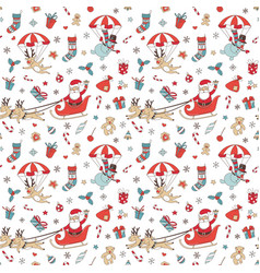 Merry christmas doodle seamless pattern background vector