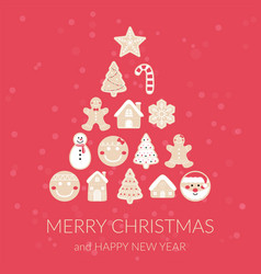 merry christmas gingerbread christmas tree vector image